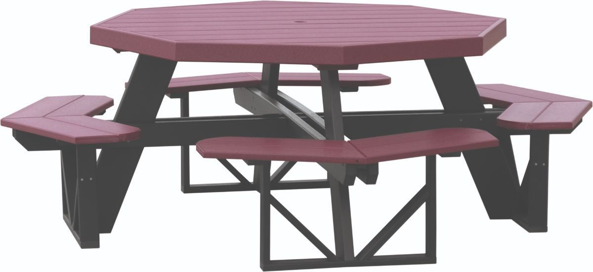Cherrywood and Black Portstewart Octagon Picnic Table