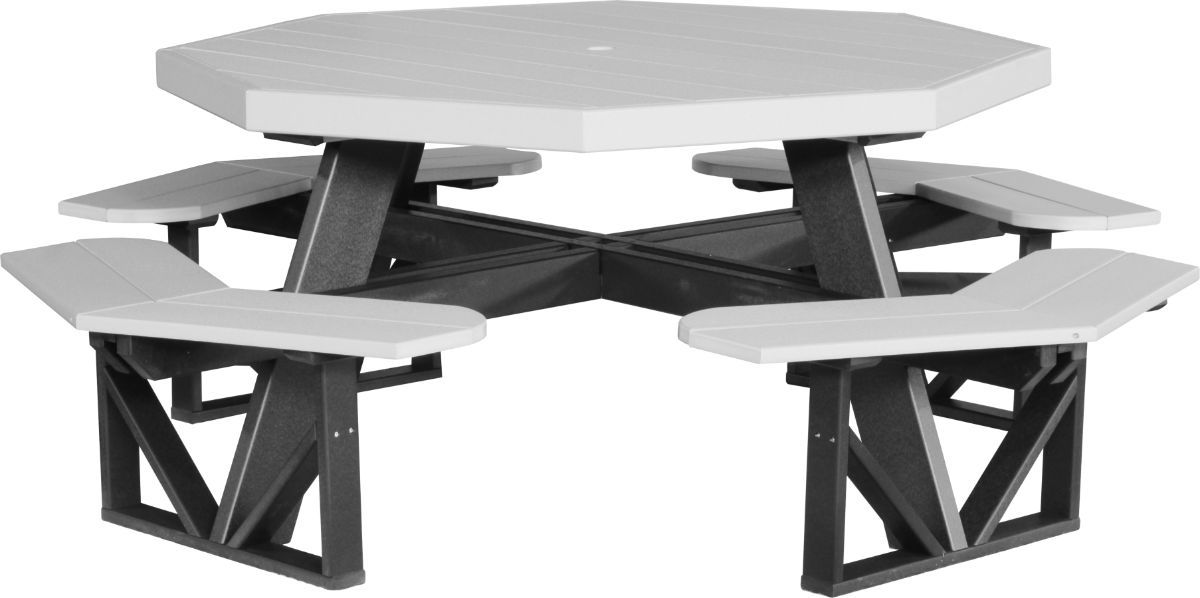 Dove Gray and Black Portstewart Octagon Picnic Table