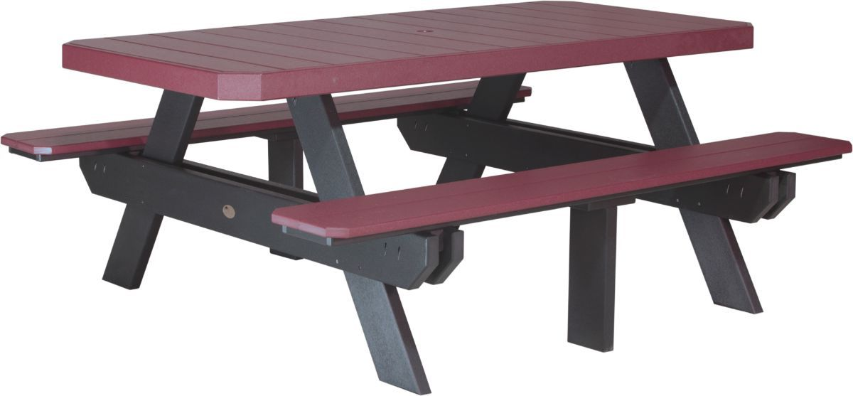 Cherrywood and Black Portstewart Poly Picnic Table