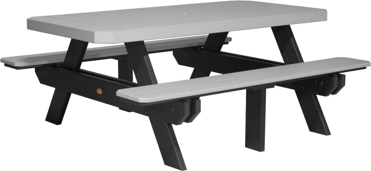 Dove Gray and Black Portstewart Poly Picnic Table