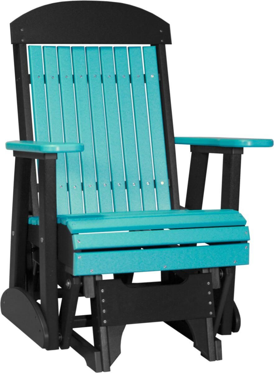 Aruba Blue and Black Stockton Outdoor Glider