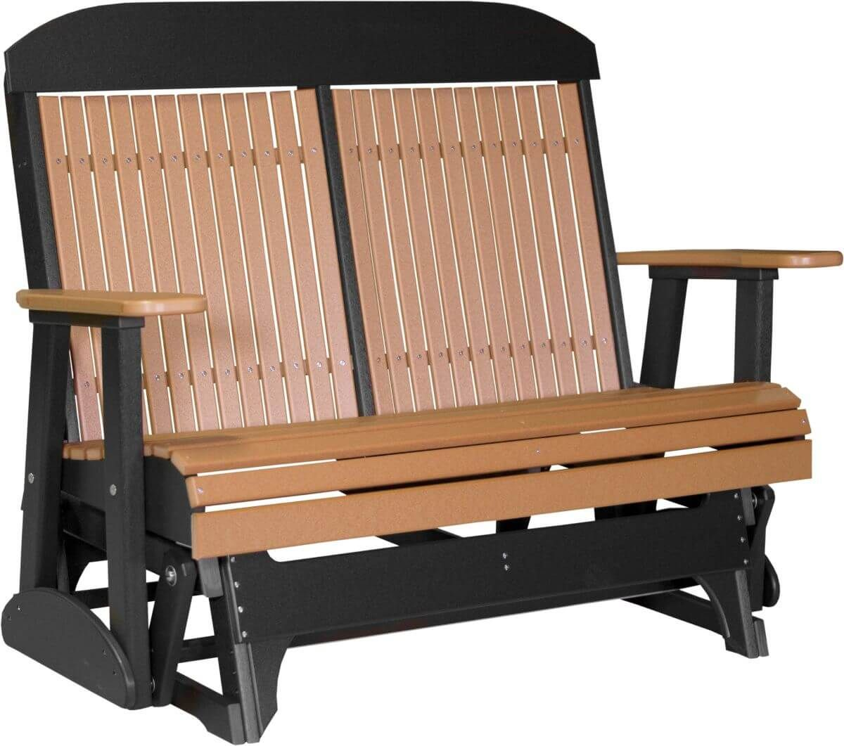 Cedar and Black Stockton Outdoor Glider Bench
