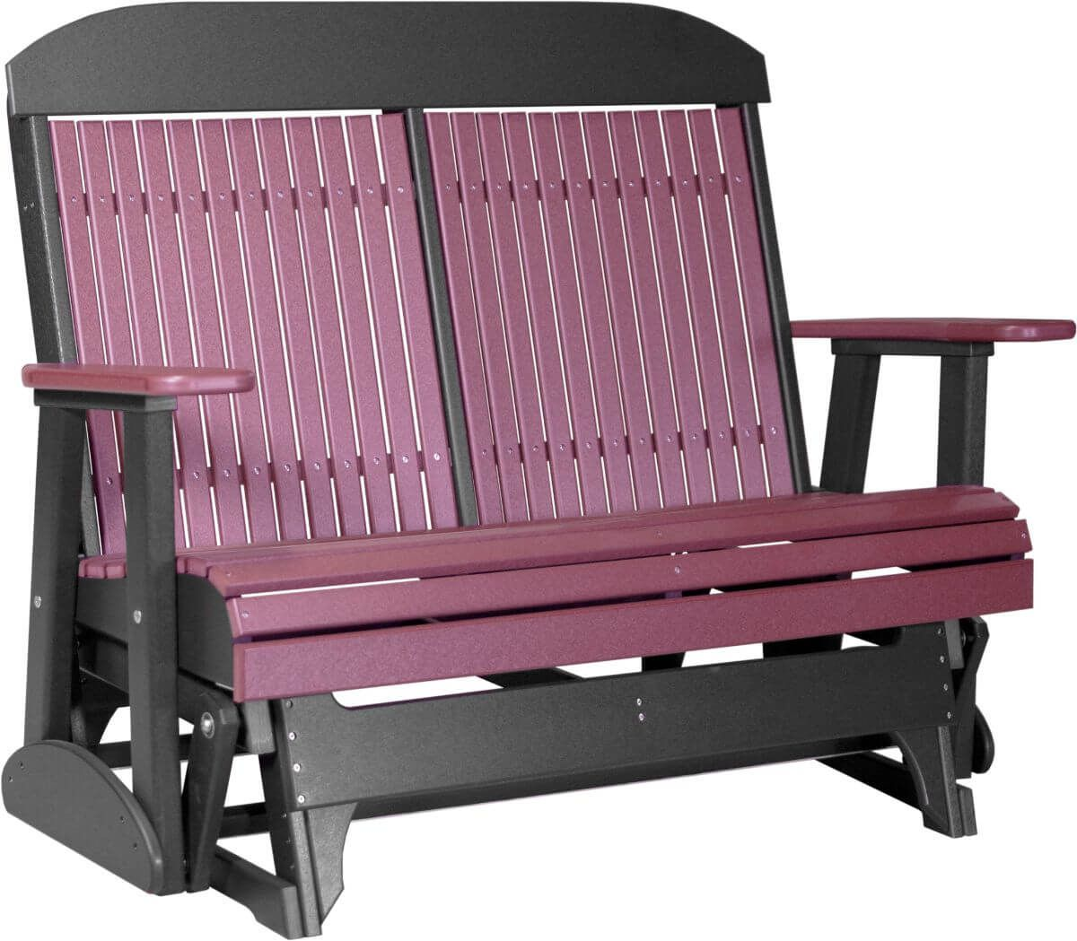 Cherrywood and Black Stockton Outdoor Glider Bench