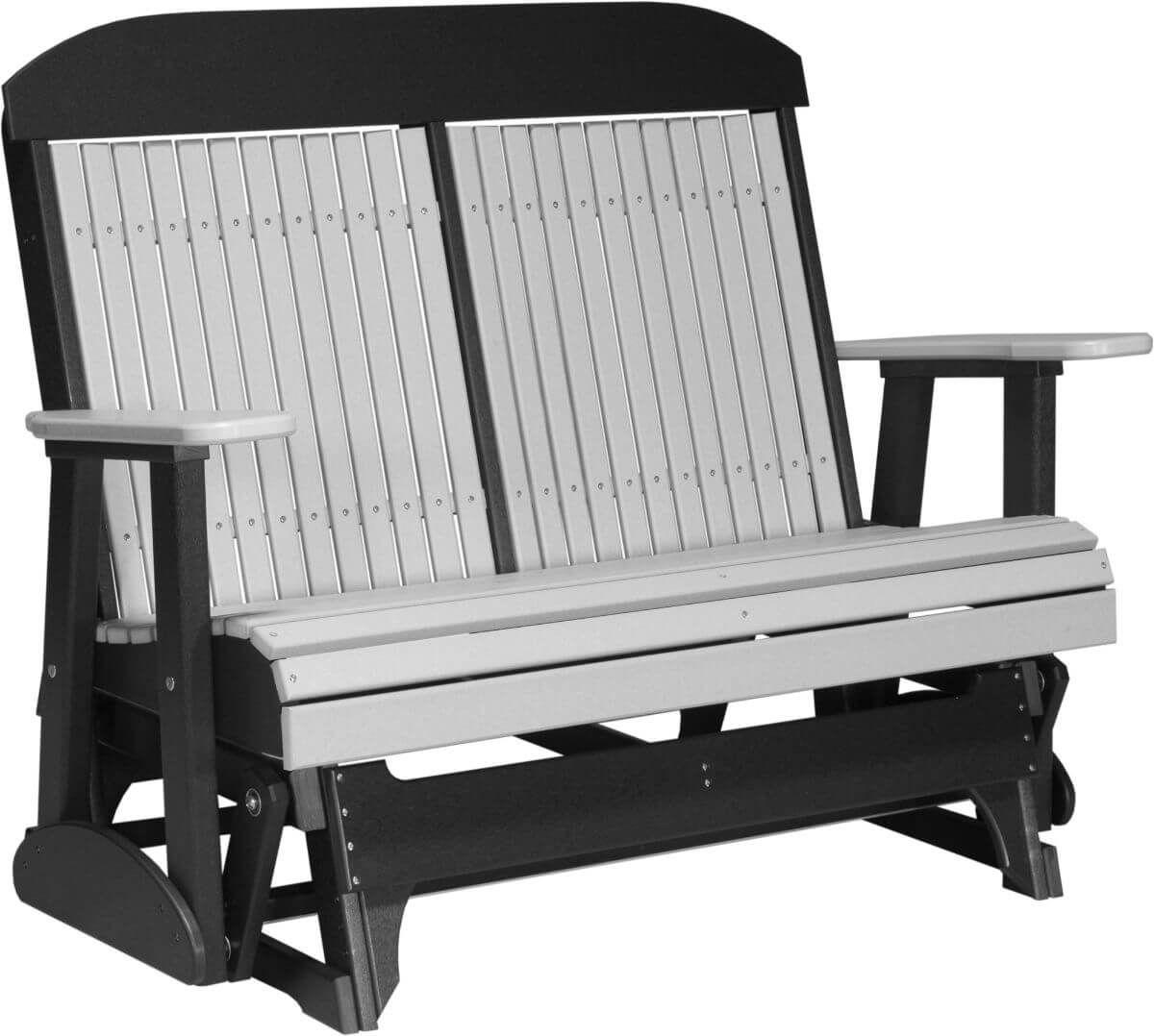 Dove Gray and Black Stockton Outdoor Glider Bench