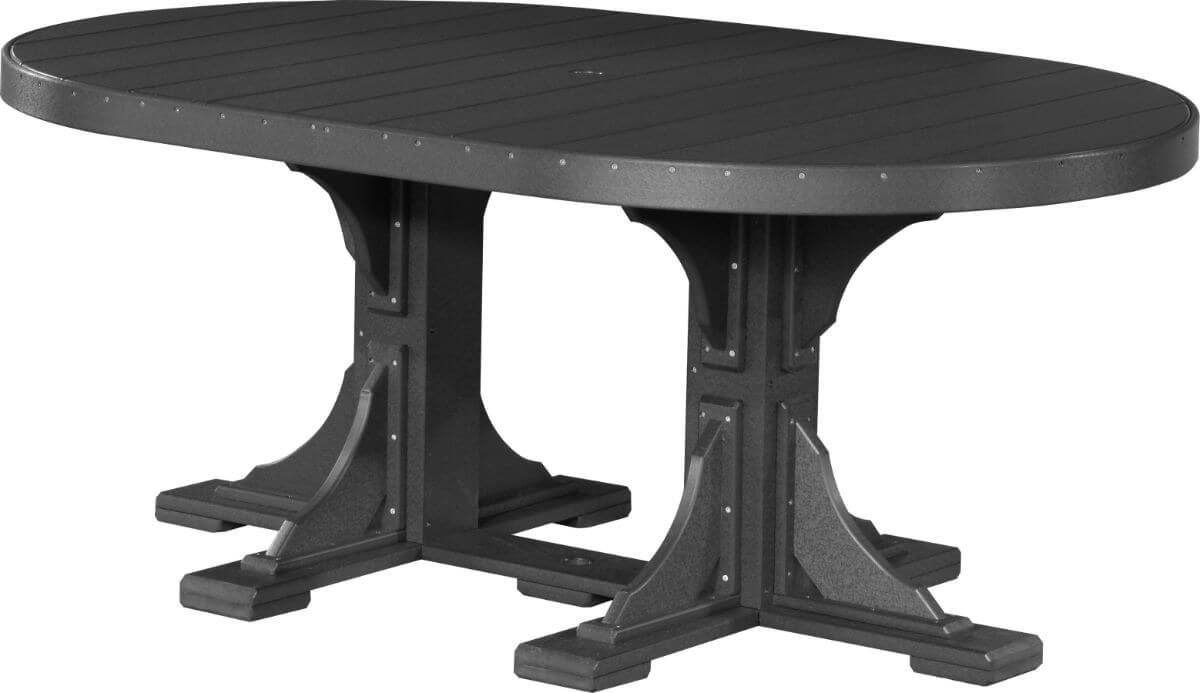 Black Stockton Outdoor Oval Dining Table