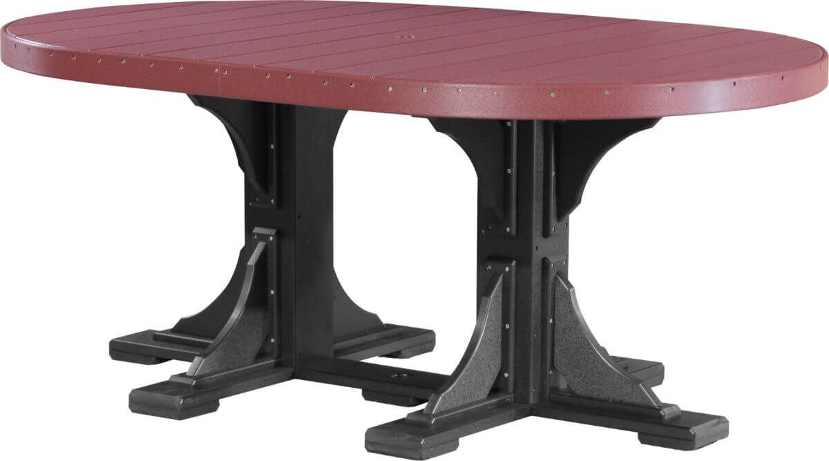 Cherrywood and Black Stockton Outdoor Oval Dining Table