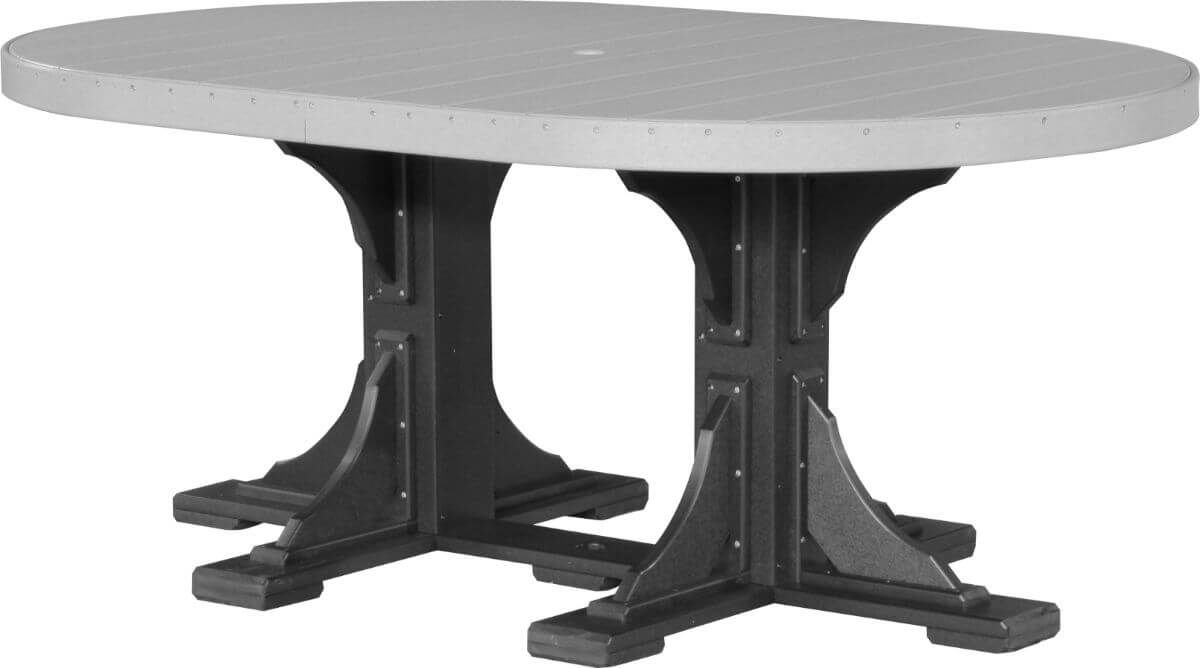 Dove Gray and Black Stockton Outdoor Oval Dining Table