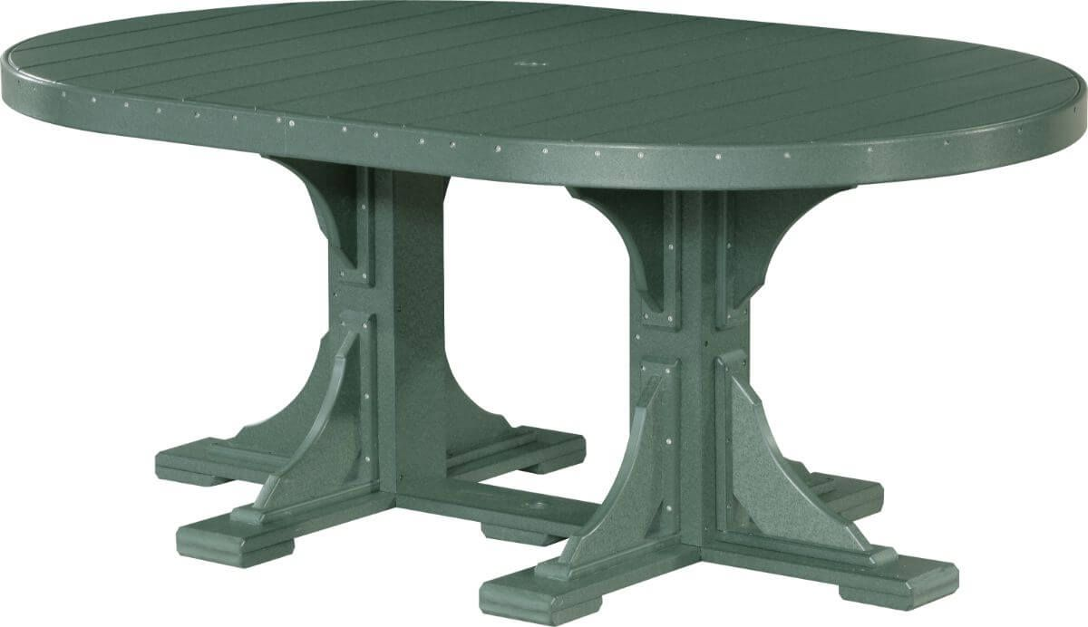 Green Stockton Outdoor Oval Dining Table