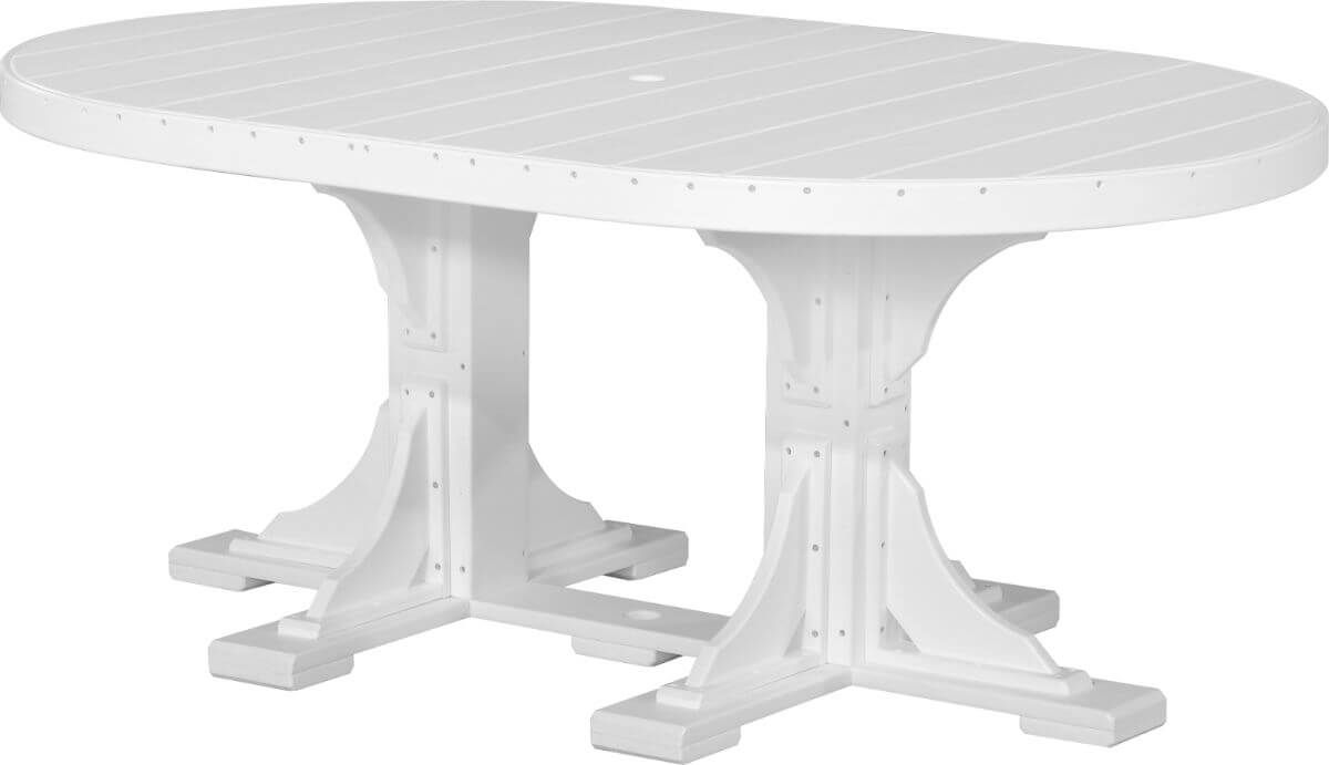 White Stockton Outdoor Oval Dining Table