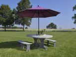 Poly Dining Table and Seating with Umbrella