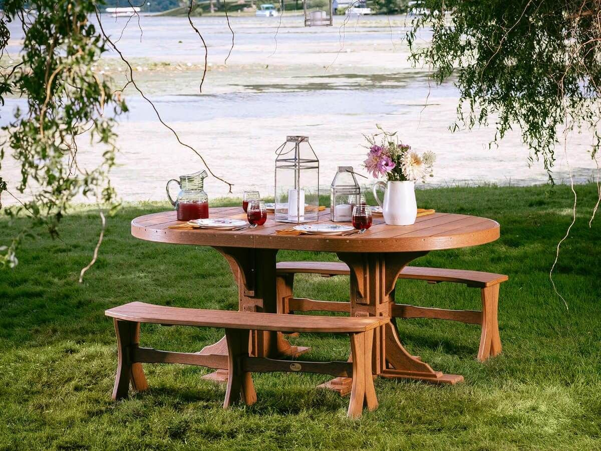 Stockton Outdoor Oval Dining Table and Curved Benches