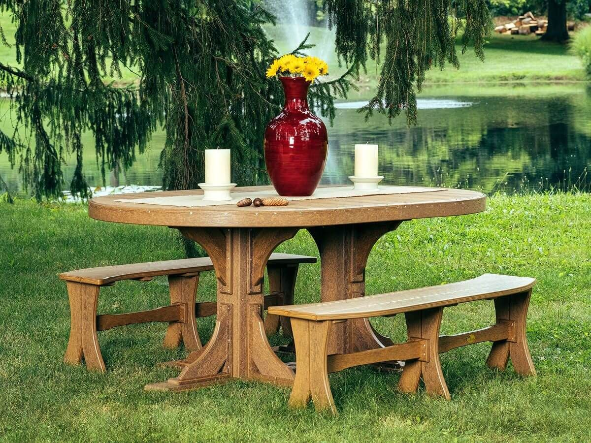 Amish Made Outdoor Table and Benches