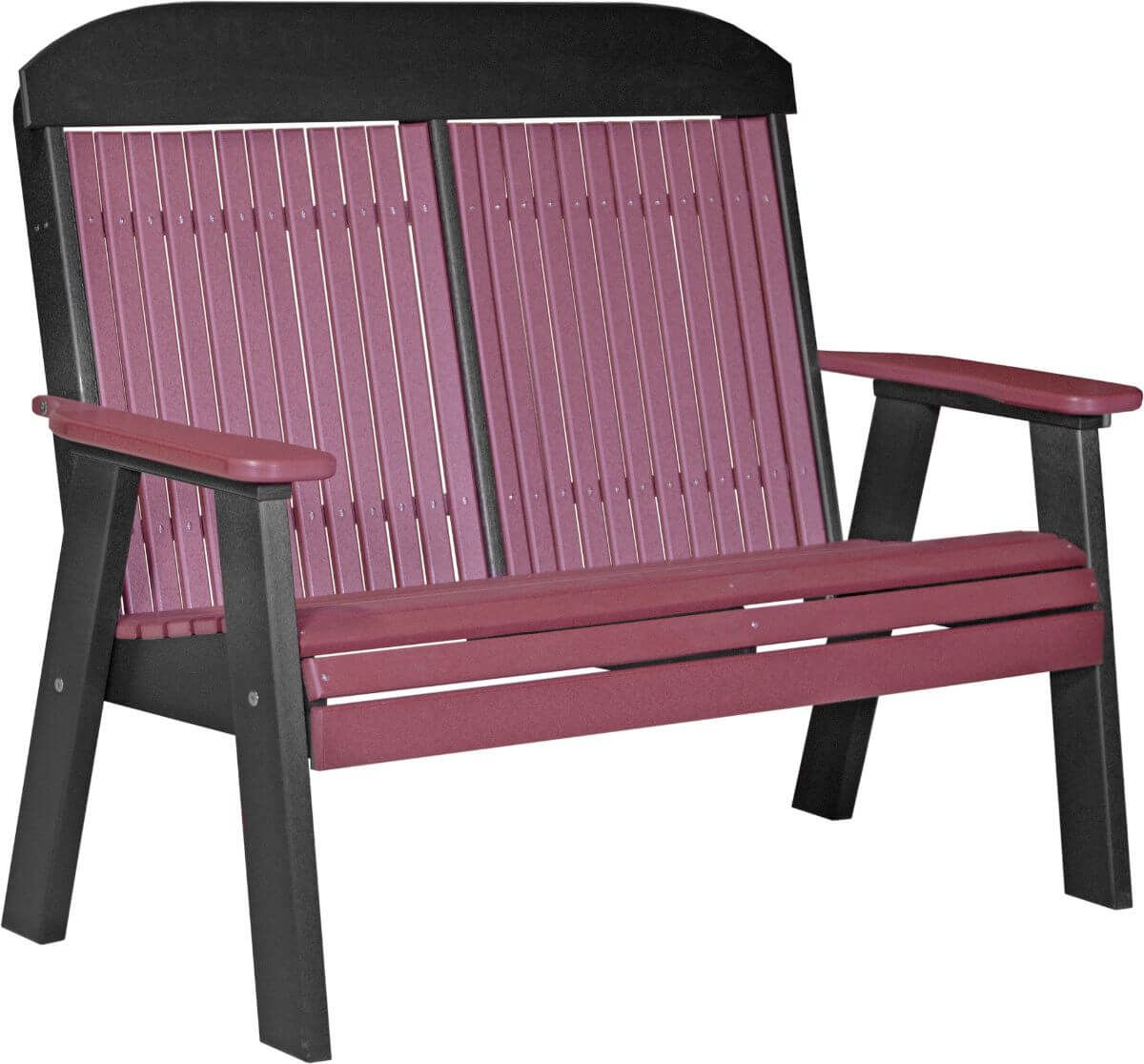 Cherrywood and Black Stockton Patio Bench