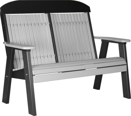 Dove Gray and Black Stockton Patio Bench