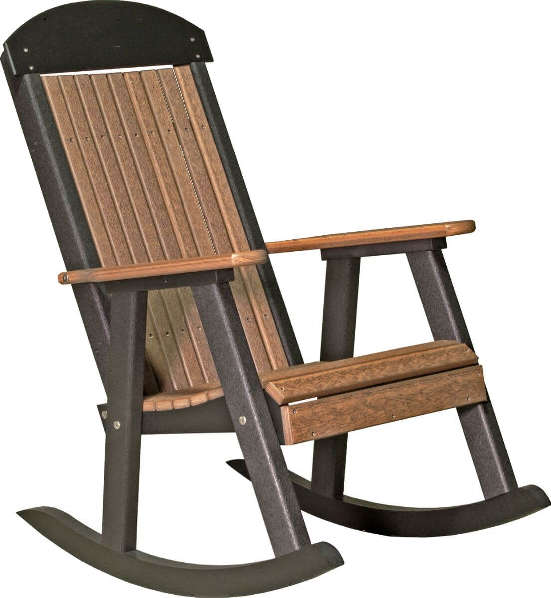 Antique Mahogany and Black Stockton Porch Rocker