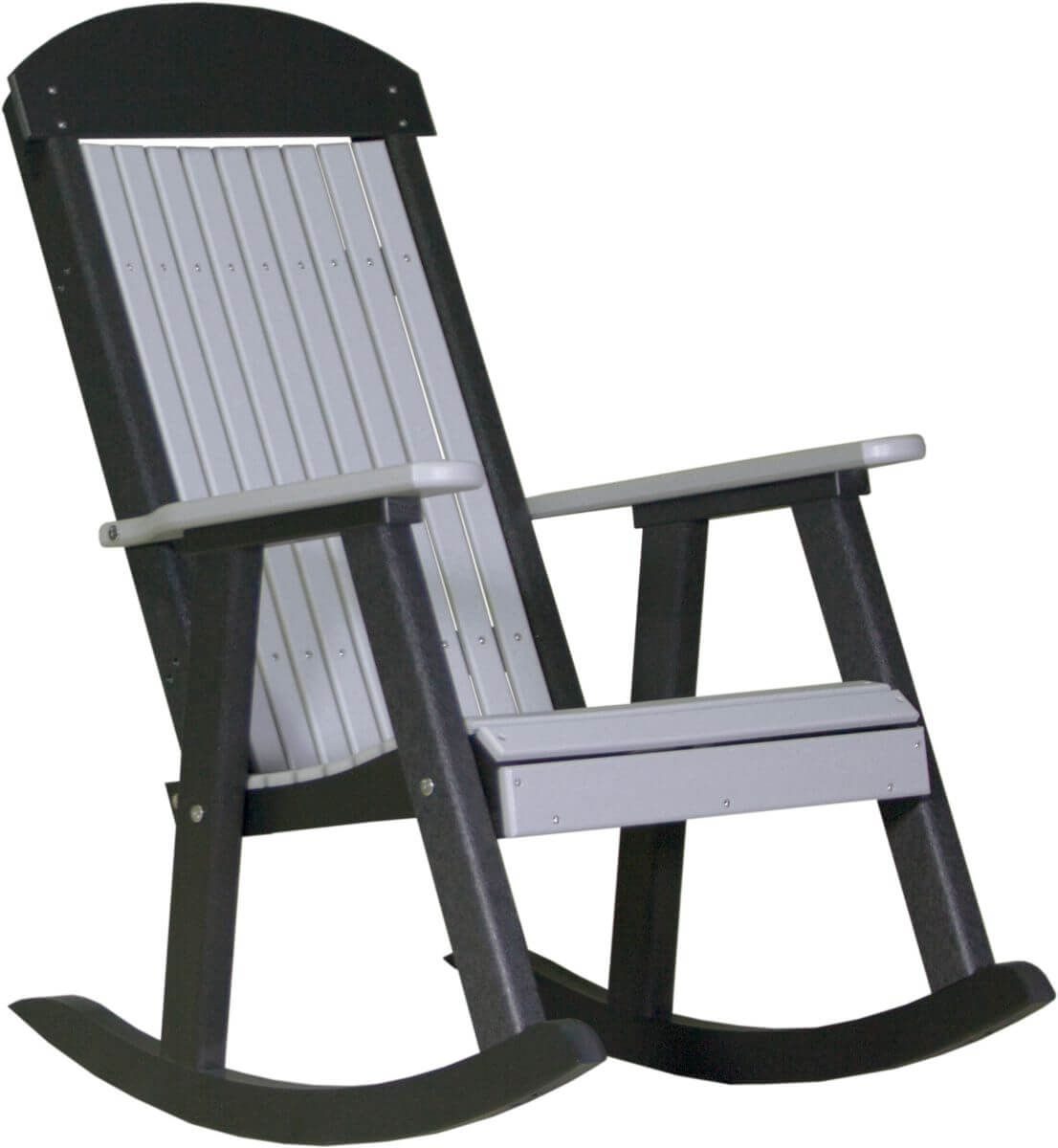 Dove Gray and Black Stockton Porch Rocker