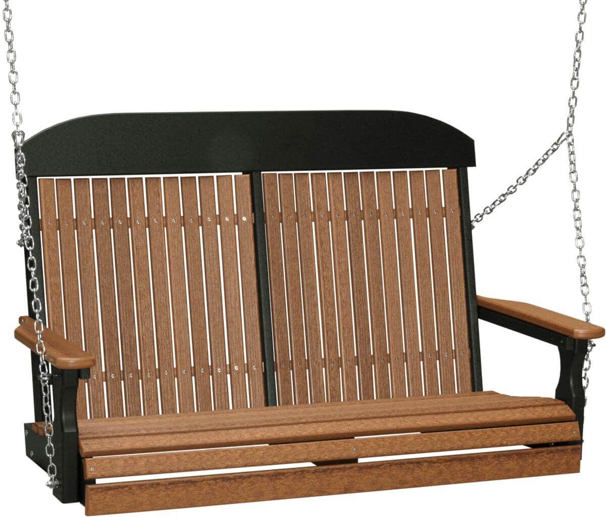 Antique Mahogany and Black Stockton Porch Swing