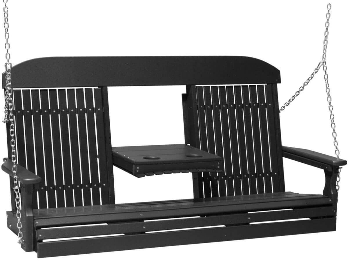 Black Stockton Porch Swing with Console