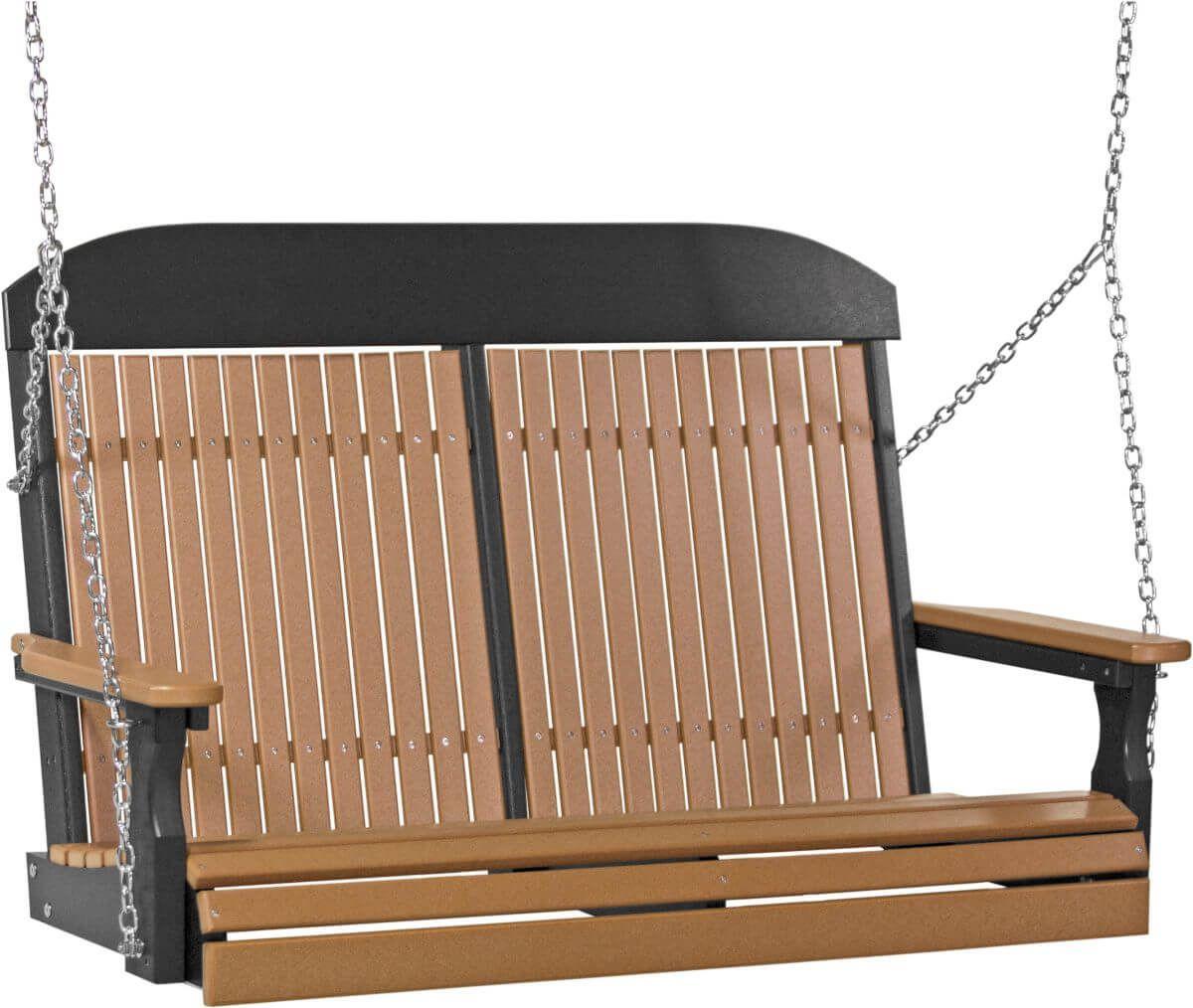 Cedar and Black Stockton Porch Swing