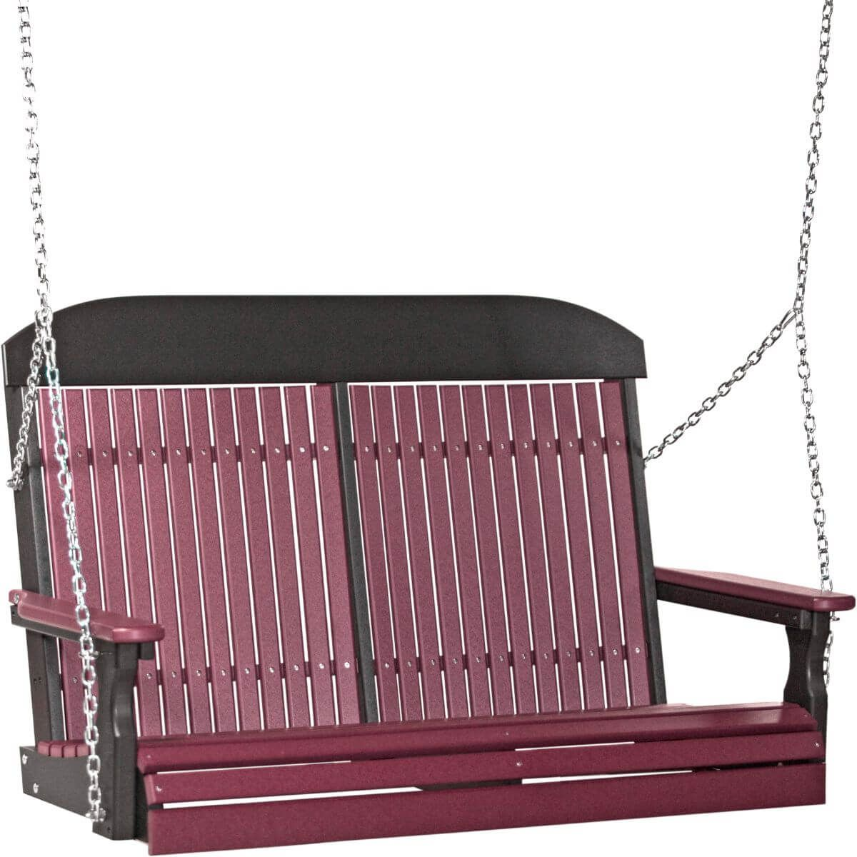Cherrywood and Black Stockton Porch Swing