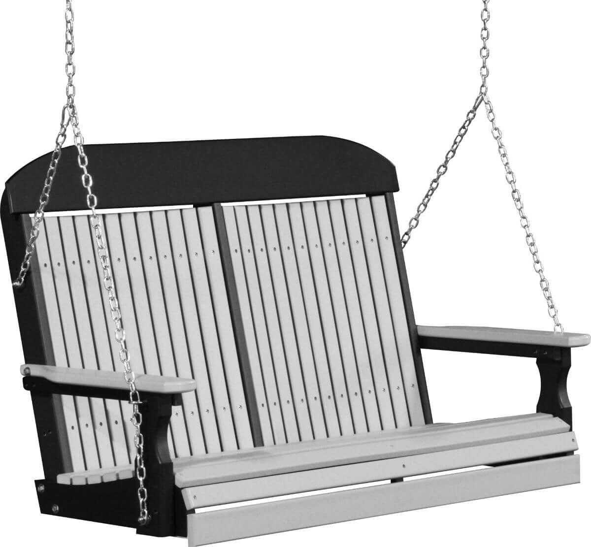 Dove Gray and Black Stockton Porch Swing
