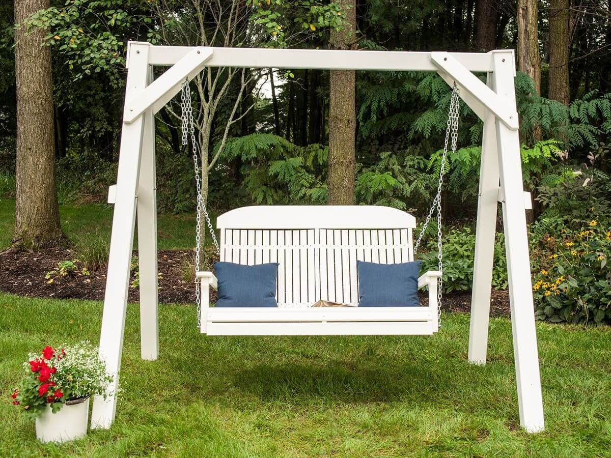 Stockton Porch Swing and White A-Frame