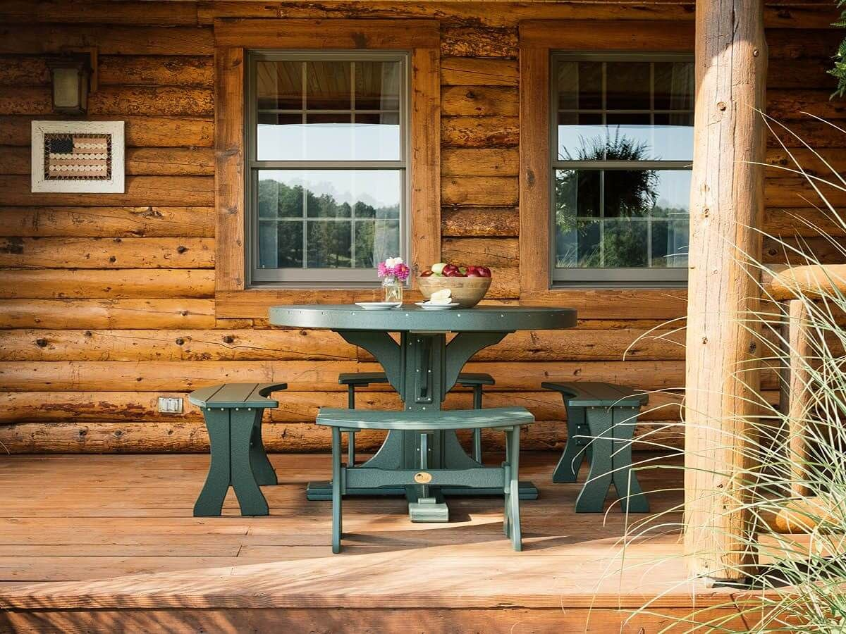 Stockton Outdoor Single Pedestal Table and Benches
