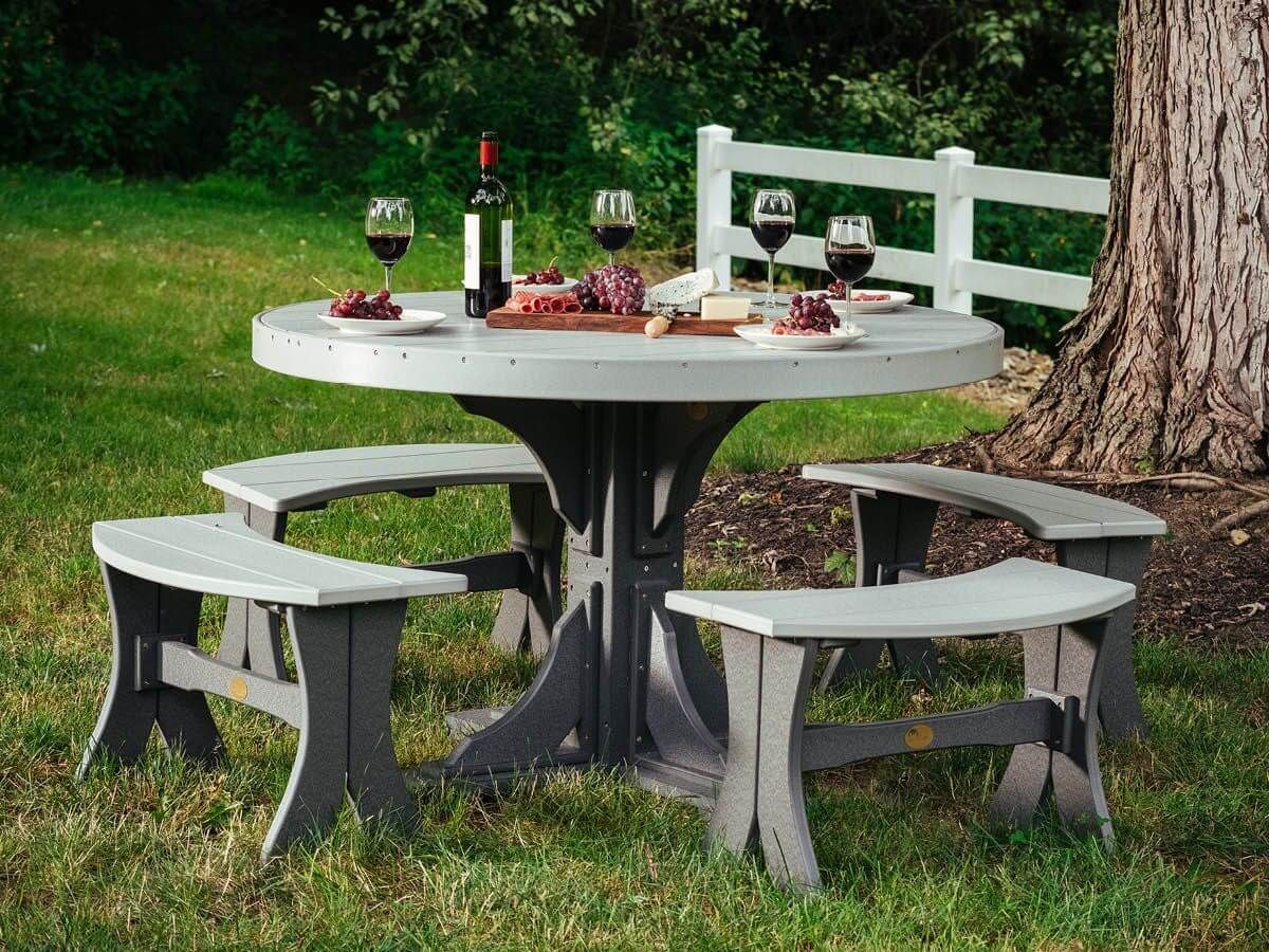 Stockton Outdoor Dining Bench and Round Table