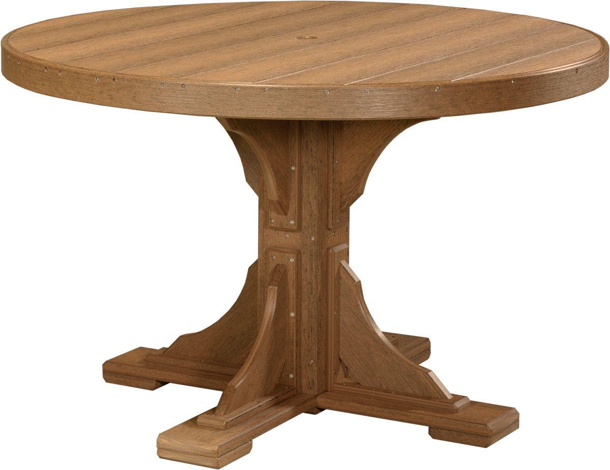 Antique Mahogany Stockton Outdoor Single Pedestal Table