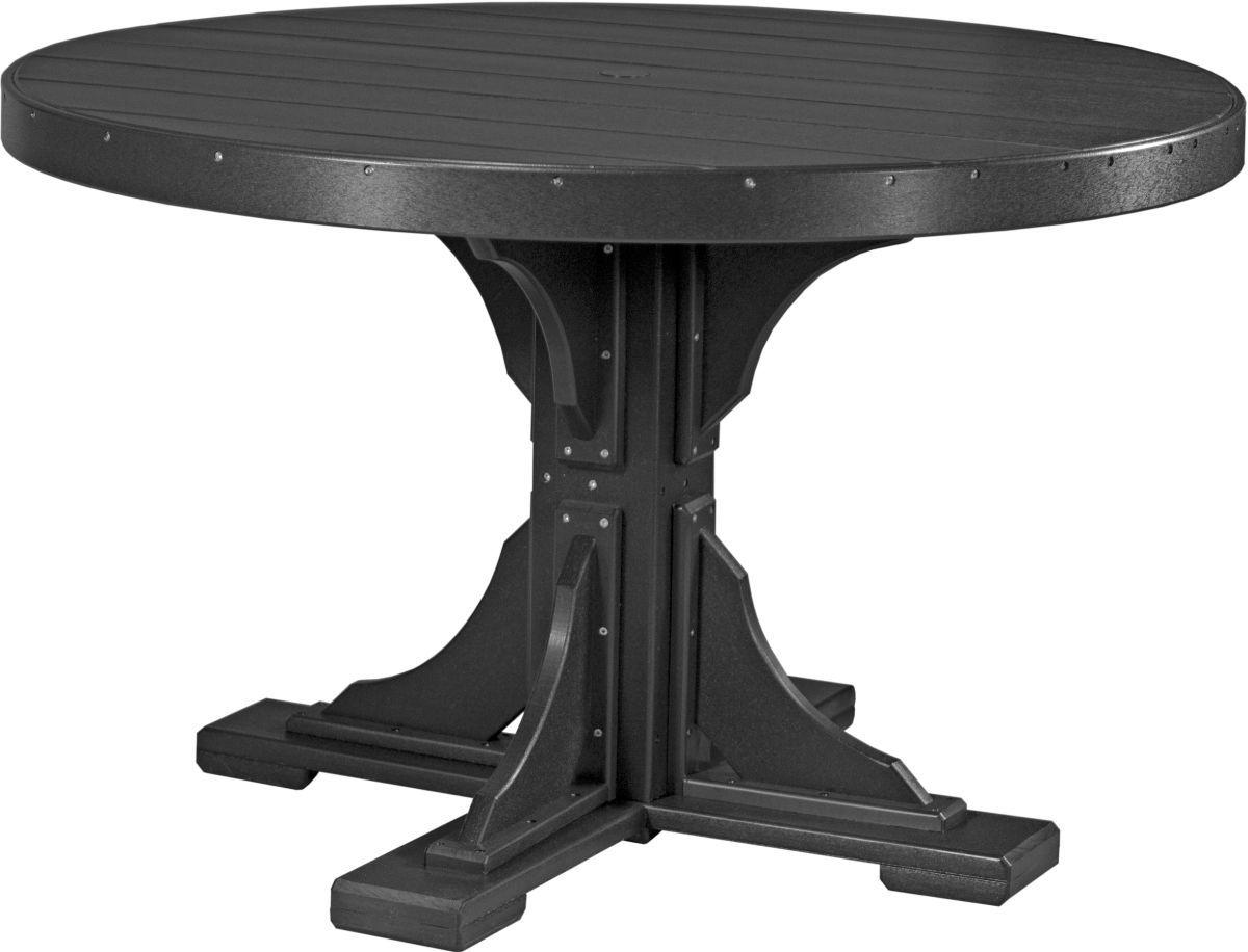 Black Stockton Outdoor Single Pedestal Table