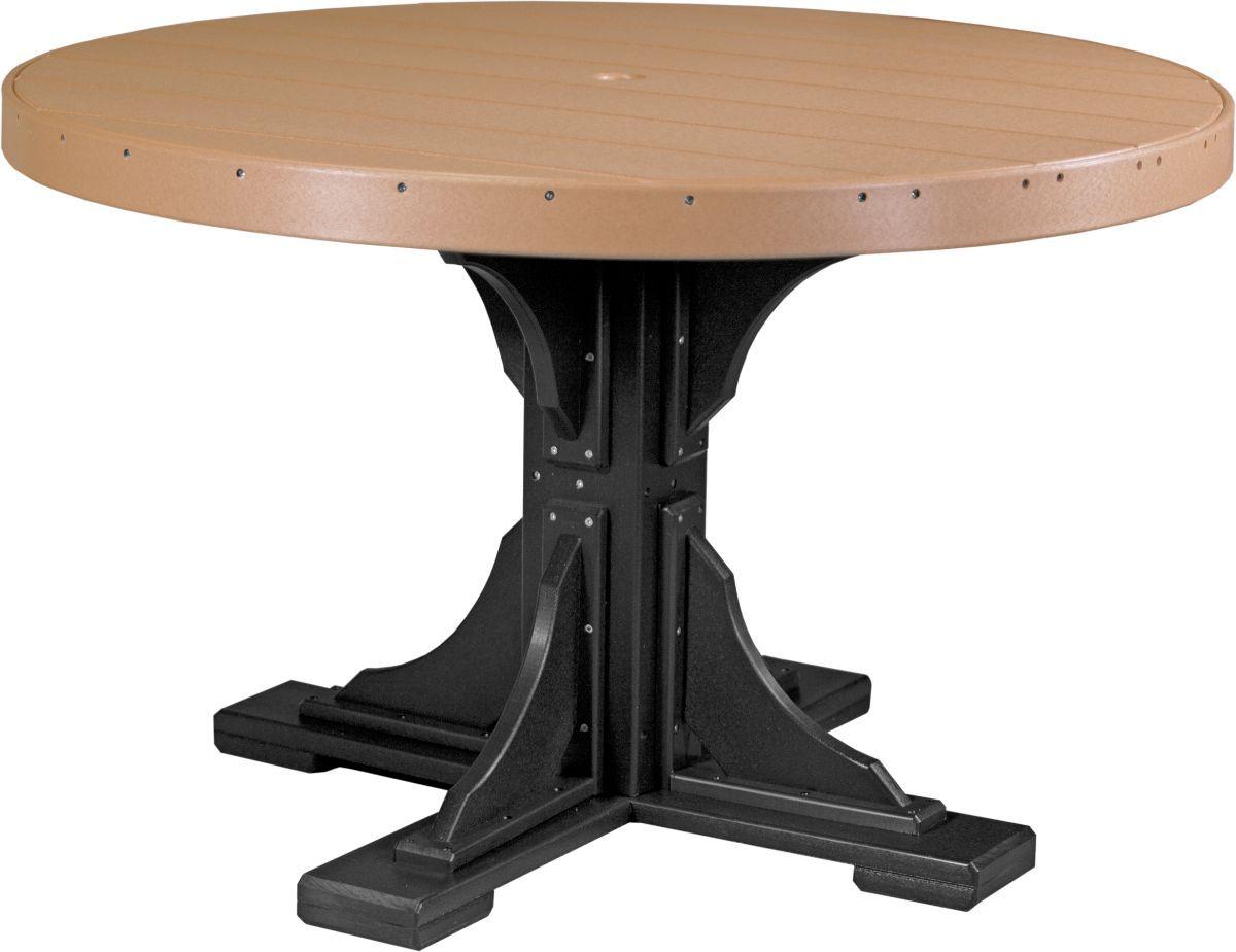 Cedar and Black Stockton Outdoor Single Pedestal Table