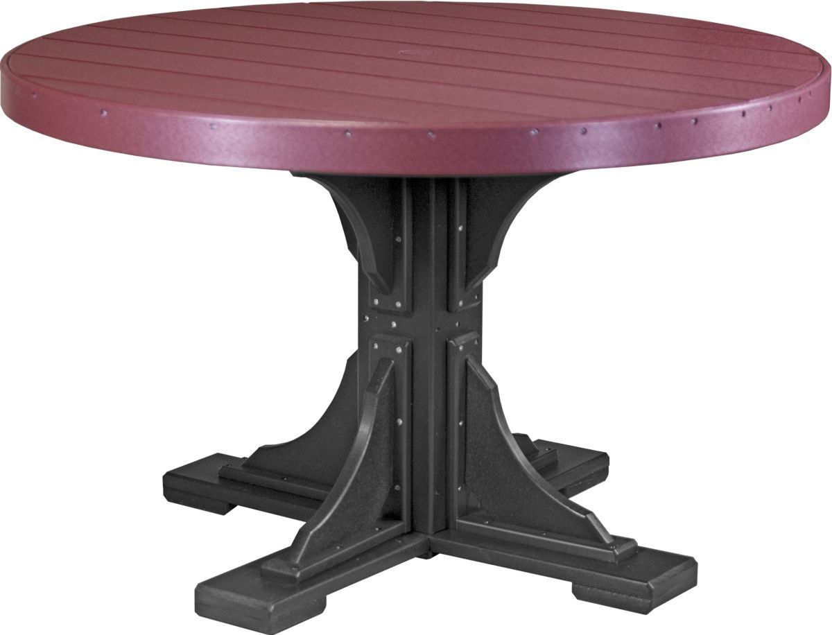 Cherrywood and Black Stockton Outdoor Single Pedestal Table
