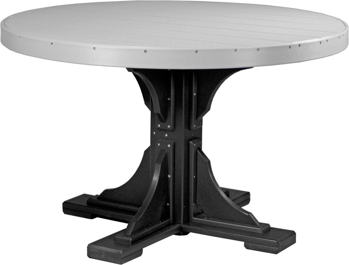 Dove Gray and Black Stockton Outdoor Single Pedestal Table