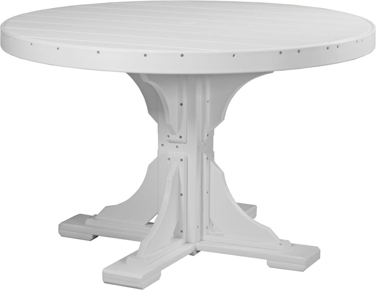 White Stockton Outdoor Single Pedestal Table