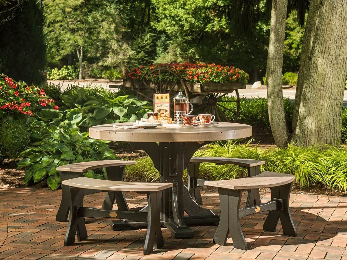 Two Tone Round Outdoor Table Set