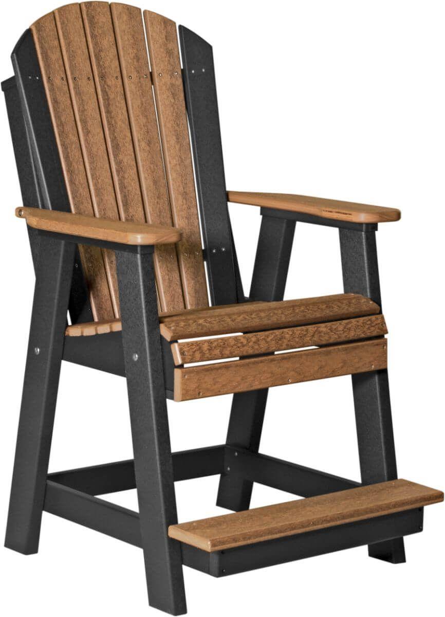 Antique Mahogany and Black Tahiti Adirondack Balcony Chair