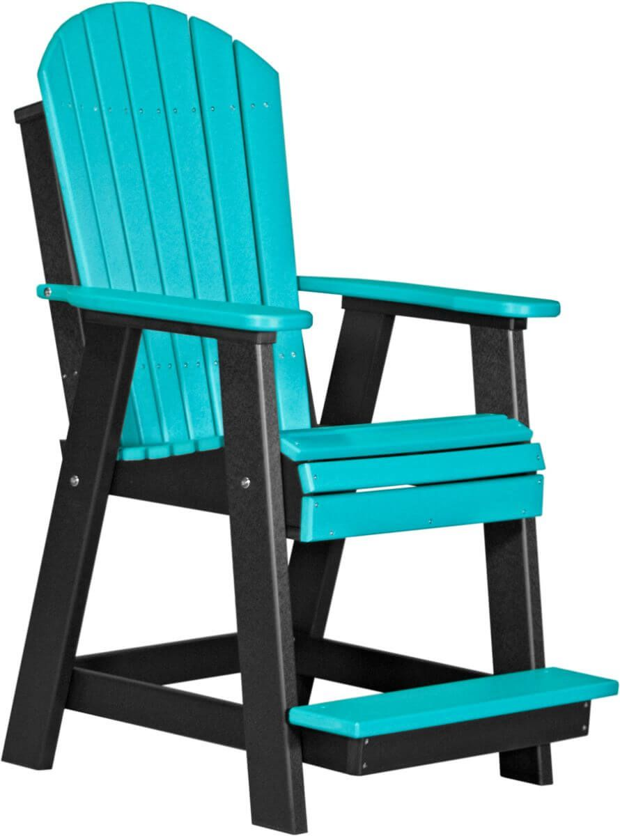 Aruba Blue and Black Tahiti Adirondack Balcony Chair