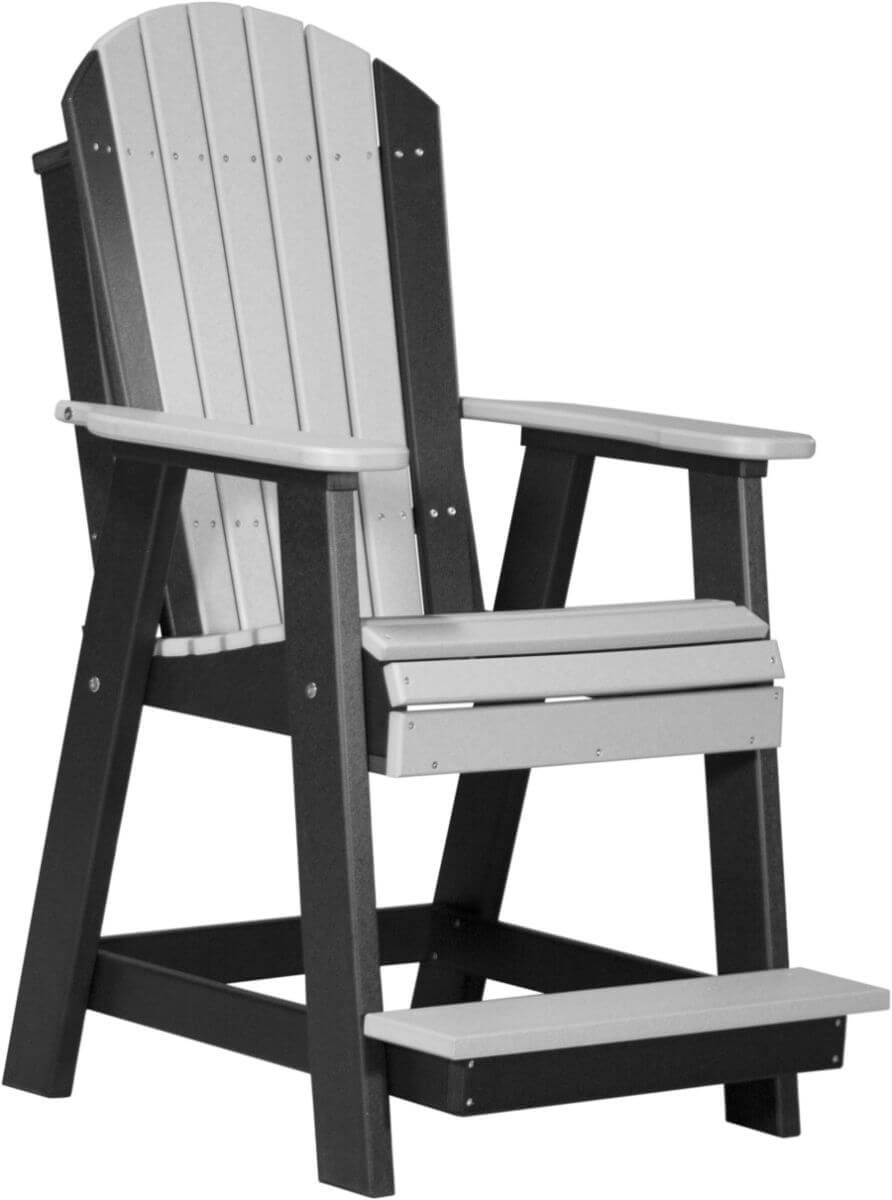 Dove Gray and Black Tahiti Adirondack Balcony Chair