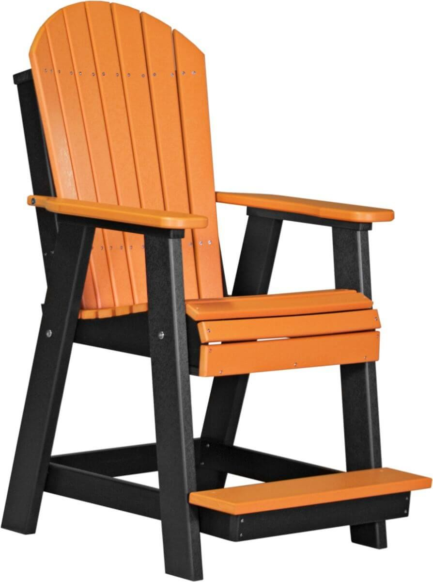 Tangerine and Black Tahiti Adirondack Balcony Chair