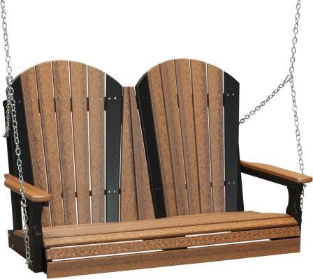 Antique Mahogany and Black Tahiti Adirondack Porch Swing