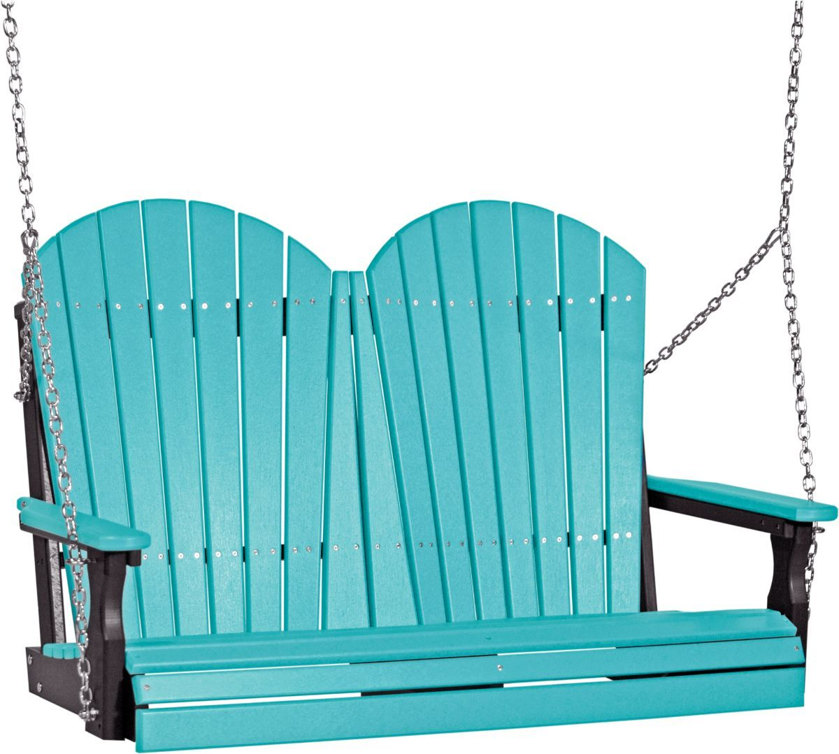 Aruba Blue and Black Tahiti Adirondack Porch Swing