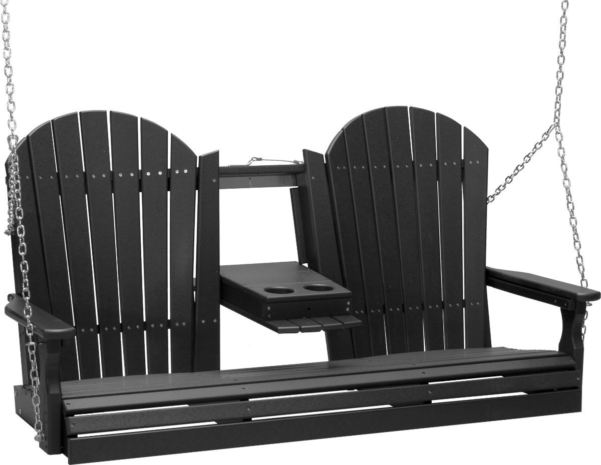 Black Tahiti Adirondack Porch Swing with Console