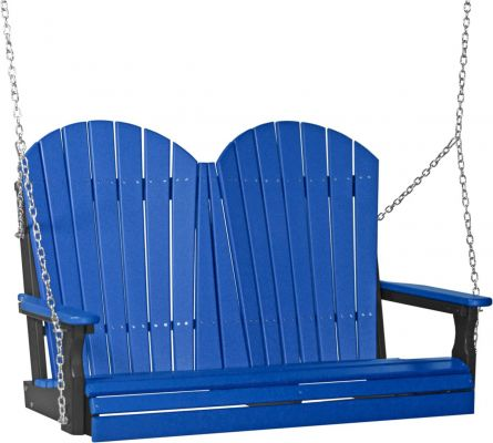 Blue and Black Tahiti Adirondack Porch Swing