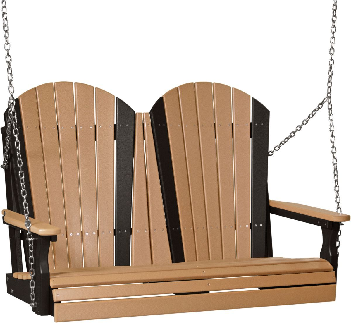 Cedar and Black Tahiti Adirondack Porch Swing
