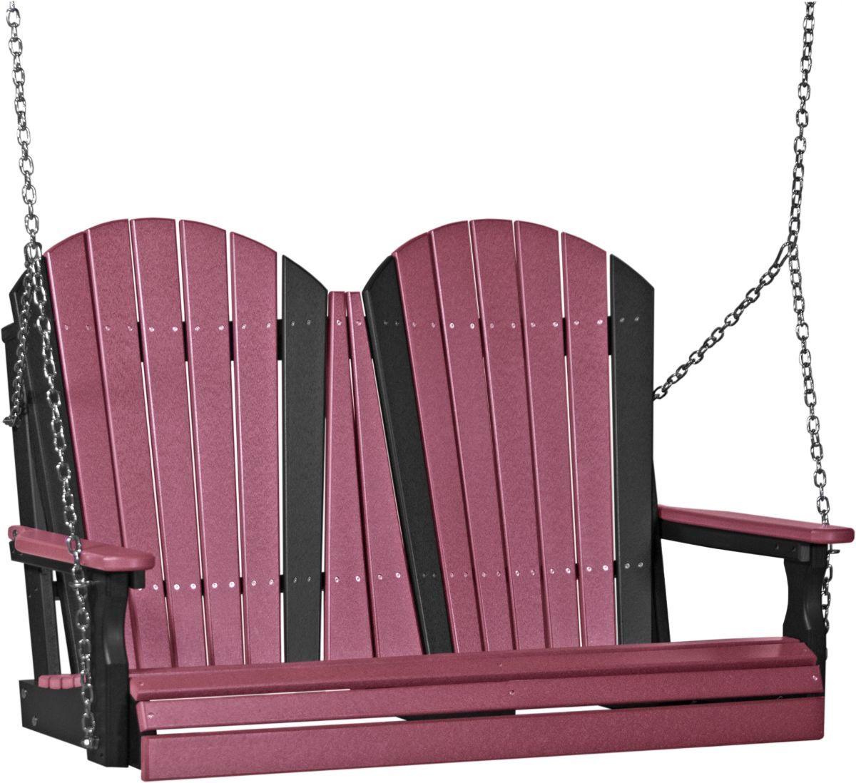 Cherrywood and Black Tahiti Adirondack Porch Swing