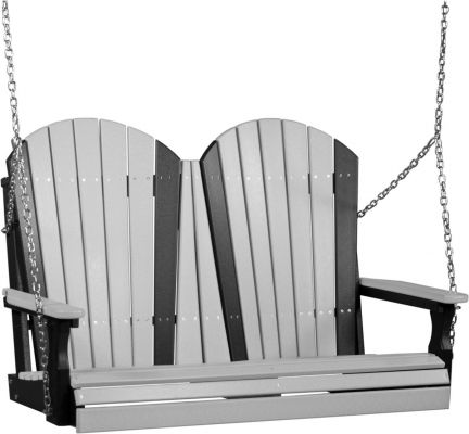 Dove Gray and Black Tahiti Adirondack Porch Swing