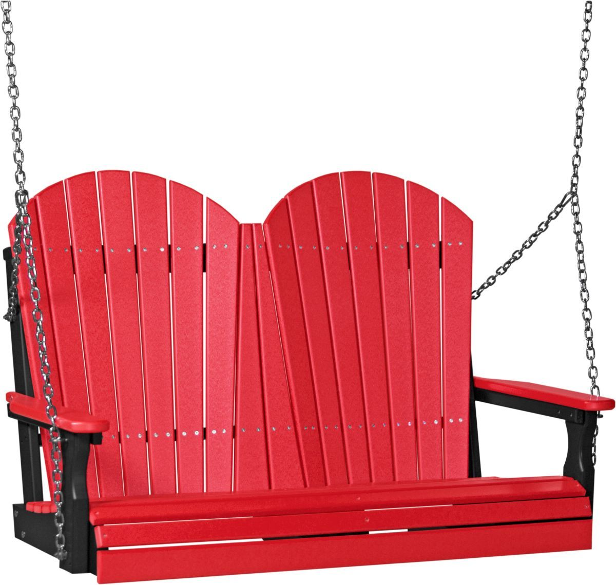 Red and Black Tahiti Adirondack Porch Swing