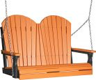 Tangerine and Black Tahiti Adirondack Porch Swing