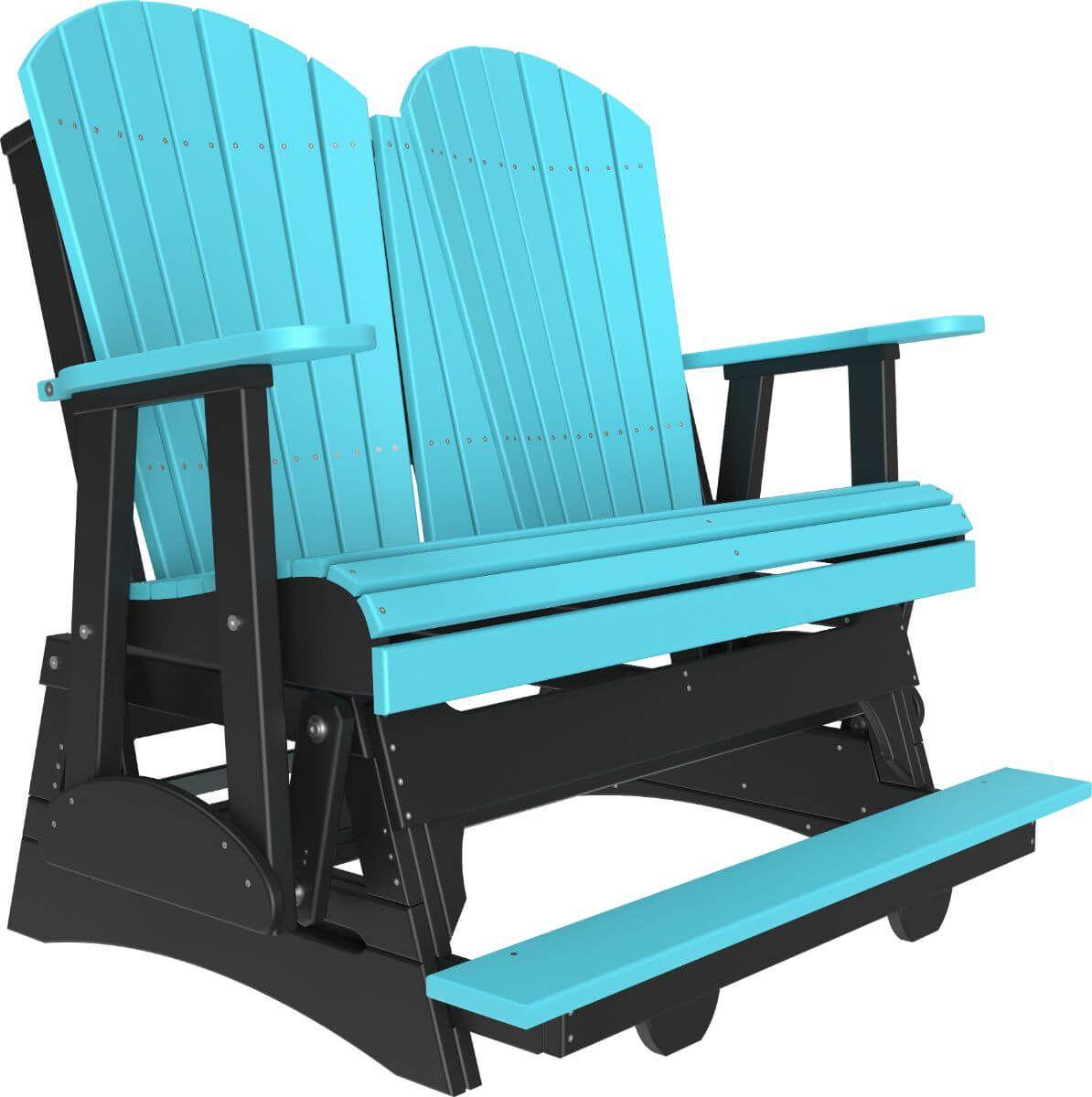 Aruba Blue and Black Tahiti Loveseat Balcony Glider
