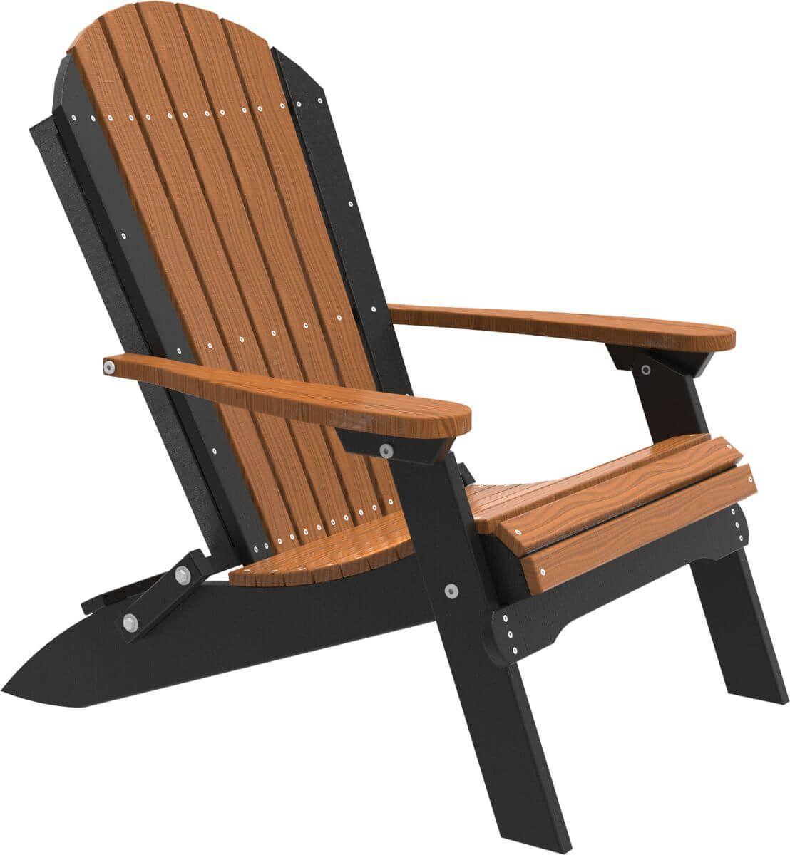 Antique Mahogany and Black Tahiti Folding Adirondack Chair
